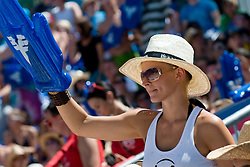 Fan cheering at A1 Beach Volleyball Grand Slam tournament of Swatch FIVB World Tour 2010, bronze medal, on August 1, 2010 in Klagenfurt, Austria. (Photo by Matic Klansek Velej / Sportida)
