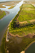 Aerial view of marsh islands and the intracoastal waterway Isle of Palms, SC.