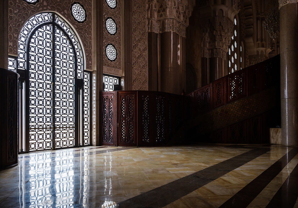 CASABLANCA, MOROCCO - CIRCA APRIL 2017: Interior view of the Mosque Hassan II in Casablanca.