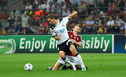 28.09.2011, Stadion Giuseppe Meazza, Mailand, ITA, UEFA CL, Gruppe H, ITA, UEFA CL, AC Mailand (ITA) vs FC Viktoria Pilsen (CZE), im Bild MArek BAKOS Plzen, Mark VAN BOMMEL Milan.. // during the UEFA Champions League game, group H, AC Mailand (ITA) vs FC Viktoria Pilsen (CZE) at Giuseppe Meazza stadium in Mailand, Italy on 2011/09/28. EXPA Pictures © 2011, PhotoCredit: EXPA/ InsideFoto/ Alessandro Sabattini +++++ ATTENTION - FOR AUSTRIA/(AUT), SLOVENIA/(SLO), SERBIA/(SRB), CROATIA/(CRO), SWISS/(SUI) and SWEDEN/(SWE) CLIENT ONLY +++++