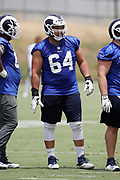 Los Angeles Rams rookie offensive guard Jamil Demby (64), a 6th round pick in the 2018 NFL draft, looks on during the Los Angeles Rams NFL football camp on Monday, June 4, 2018 in Thousand Oaks, Calif. (©Paul Anthony Spinelli)