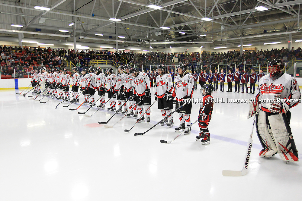 FORT FRANCES, ON - Apr 28, 2015 : Central Canadian Junior &quot;A&quot; Championship, game action between theToronto Patriots and the Fort Francis Lakers, game two of the Dudley Hewitt Cup. Fort Frances Lakers and Dryden GM Ice Dogs and the packed house during opening ceremonies.<br /> (Photo by Tim Bates / OJHL Images)