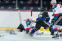 KELOWNA, CANADA - SEPTEMBER 2: Goalie Brodan Salmond #31 of the Kelowna Rockets blocks a shot by left wing Igor Martynov #15 of the Victoria Royals during second period on September 2, 2017 at Prospera Place in Kelowna, British Columbia, Canada.  (Photo by Marissa Baecker/Shoot the Breeze)  *** Local Caption ***