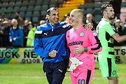 Goalkeeping coach Pat Mountain and Forest Green Rovers goalkeeper Cameron Belford during the EFL Sky Bet League 2 match between Yeovil Town and Forest Green Rovers at Huish Park, Yeovil, England on 24 April 2018. Picture by Shane Healey.