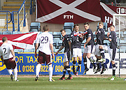 Might as well jump - Dundee wall for Jamie Hamill free kick - Dundee v Heart of Midlothian - Clydesdale Bank Scottish Premier League at Dens Park .. - © David Young - www.davidyoungphoto.co.uk - email: davidyoungphoto@gmail.com