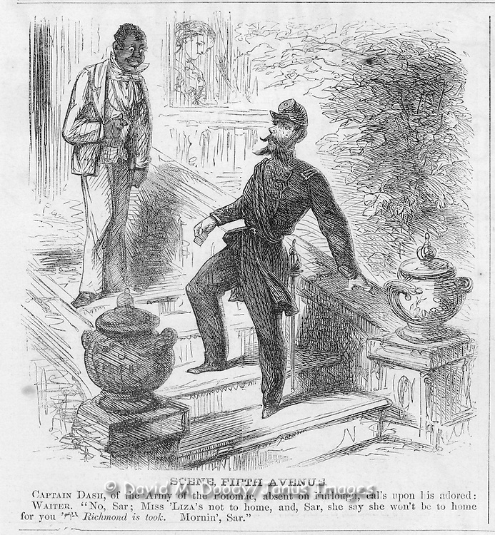 Scene on Fifth Avenue: Black servant and Union soldier on leave. Harper's Weekly August 2, 1862 Ads & cartoons