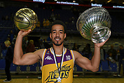 Player of the tournament Justin Robinson of London Lions with his ball trophy and the team trophy the Betway British Basketball All-Stars Championship at the O2 Arena, London, United Kingdom on 24 September 2017. Photo by Martin Cole.