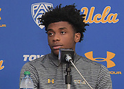 Nov 15, 2017; Los Angeles, CA, USA; UCLA Bruins forward Jalen Hill reads a statement during a press conference at Pauley Pavilion regarding arrest of Hill and freshman teammates LiAngelo Ball and Cody Riley (not pictured) in China for shoplifting.