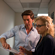 "August 29, 2014 - New York, NY : News Anchor David Muir, center, speaks with ABC News senior producer Terri Lichstein, right, before tracking for a 20/20 investigative piece in the ABC News building on West 66th Street on Friday afternoon. David Muir is taking over for Diane Sawyer as anchor of ABC's ""World News Tonight."" CREDIT: Karsten Moran for The New York Times"