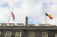 Union Jack and Belgian Flag at half mast in Downing Street following the terrorist attacks in Belgium.<br /> Picture by Paul Davey/Focus Images Ltd +447966 016296<br /> 22/03/2016