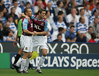 Photo: Lee Earle.<br /> Reading v West Ham United. The FA Barclays Premiership. 01/09/2007.West Ham's George McCartney (R) congratulates Craig Bellamy after he scored their opening goal.