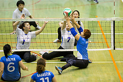 Xiong Lina of China and Wang Yanan of China vs Mira Jakin of Slovenia during friendly Sitting Volleyball match between National teams of Slovenia and China, on October 22, 2017 in Sempeter pri Zalcu, Slovenia. (Photo by Vid Ponikvar / Sportida)