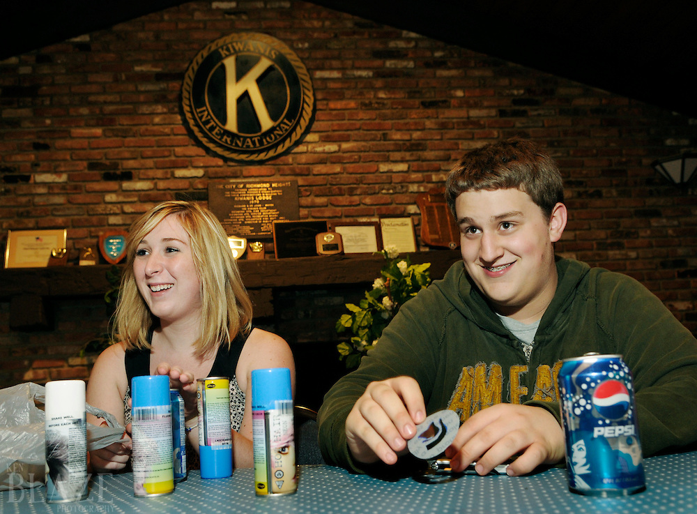 Richmond Heights High School Key Club President Katie Behra and Vice President Mike Belisimo conduct their weekly meeting at the Kiwanis Lodge in Richmond Heights, Ohio on Thursday September 18, 2008.