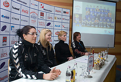 Renate Mortel, Spela Cerar, Deja Doler Ivanovic and Marta Bon at press conference of RK Krim Mercator before the Championship league match Krim Mercator vs Györi AUDI ETO KC, on February 4, 2009, in Ljubljana, Slovenia. (Photo by Vid Ponikvar / Sportida)