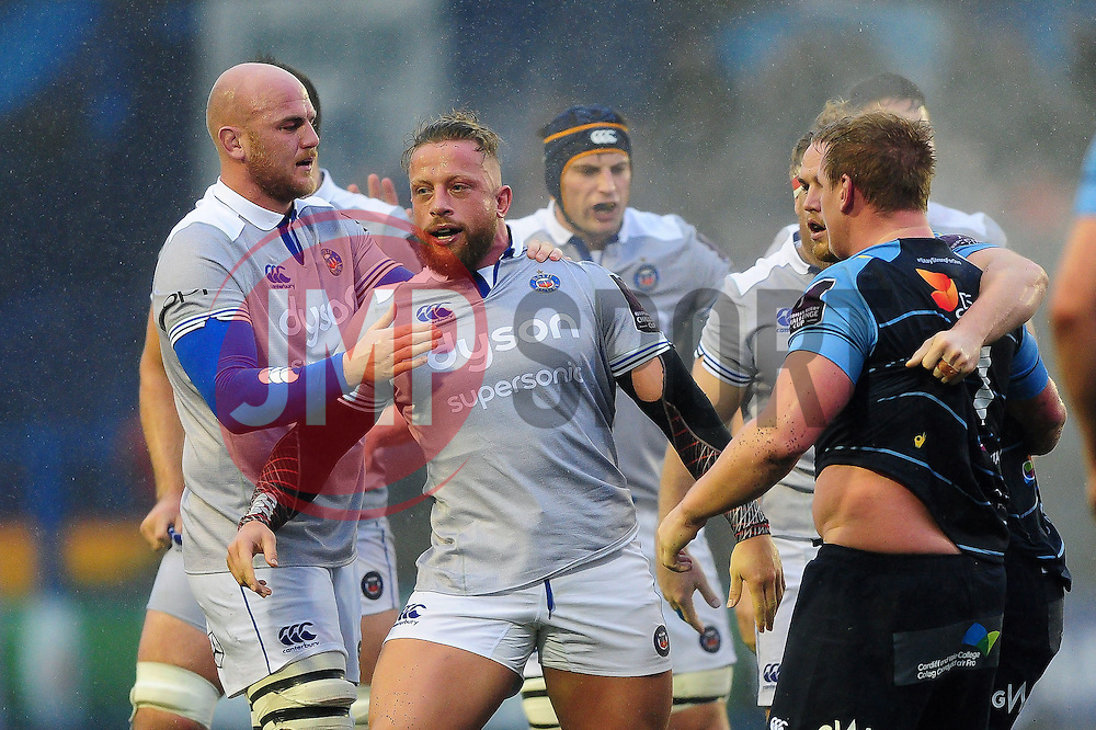 Max Lahiff of Bath Rugby is congratulated after a strong scrum earns his side a penalty - Mandatory byline: Patrick Khachfe/JMP - 07966 386802 - 10/12/2016 - RUGBY UNION - Cardiff Arms Park - Cardiff, Wales - Cardiff Blues v Bath Rugby - European Rugby Challenge Cup.