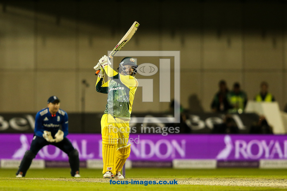 Matthew Wade of Australia hits the ball to the boundary for four during the 3rd One Day International match at Old Trafford Cricket Ground, Stretford<br /> Picture by Andy Kearns/Focus Images Ltd 0781 864 4264<br /> 08/09/2015