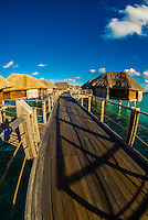 Overwater bungalows, Four Seasons Resort Bora Bora, French Polynesia.