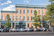 Shops along Walnut Steet in the Old Town historic shopping and restaurant district in Fort Collins, Colorado.