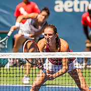 August 22, 2016, New Haven, Connecticut: <br /> Lara Arruabarrena and Xenia Knoll in action during a US Open National Playoffs match on Day 4 of the 2016 Connecticut Open at the Yale University Tennis Center on Monday August  22, 2016 in New Haven, Connecticut. <br /> (Photo by Billie Weiss/Connecticut Open)