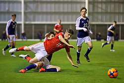 EDINBURGH, SCOTLAND - Tuesday, November 1, 2016: Wales' Jack Vale in action against Scotland during the Under-16 2016 Victory Shield match at ORIAM. (Pic by David Rawcliffe/Propaganda)