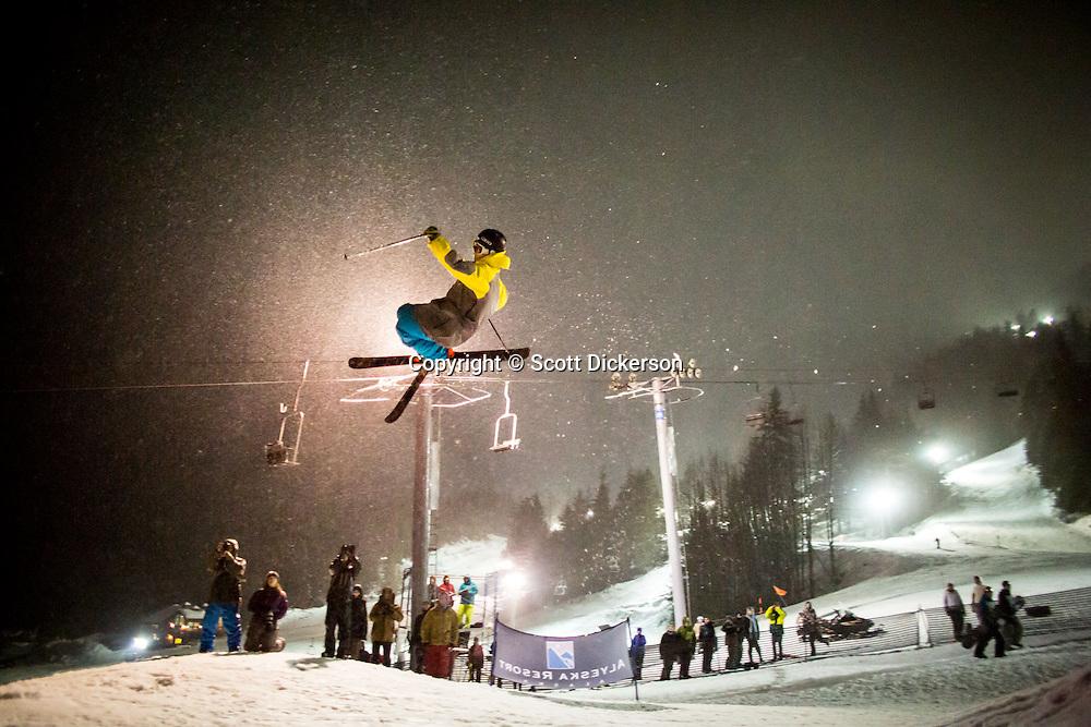 Max Durtschi competing in the Frostbite Festival - Big Air competition at Alyeska Resort, Girdwood, Alaska.