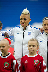 CARDIFF, WALES - Tuesday, August 21, 2014: England's Lianne Sanderson lines-up before the FIFA Women's World Cup Canada 2015 Qualifying Group 6 match against Wales at the Cardiff City Stadium. (Pic by Ian Cook/Propaganda)