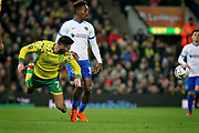 Norwich City midfielder Ben Marshall (7) with a diving header during the The FA Cup 3rd round match between Norwich City and Portsmouth at Carrow Road, Norwich, England on 5 January 2019.