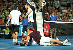 SYDNEY, Jan. 8, 2018  Alexander Zverev(1st R) checks on Nick Kyrgios after hitting him in the face during the FAST4 of Sydney International match between Nick Kyrgios/Lleyton Hewitt of Australia and Grigor Dimitrov of Bulgaria/Alexander Zverev of Germany in Sydney, Australia, on Jan. 8, 2018. Nick Kyrgios/Lleyton Hewitt won 2-1. (Credit Image: © Bai Xuefei/Xinhua via ZUMA Wire)