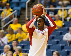 Feb 20, 2016; Morgantown, WV, USA; Oklahoma Sooners guard Buddy Hield (24) warms up before their game against the West Virginia Mountaineers at the WVU Coliseum. Mandatory Credit: Ben Queen-USA TODAY Sports