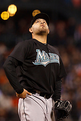 May 24, 2011; San Francisco, CA, USA;  Florida Marlins starting pitcher Ricky Nolasco (47) watches an infield fly ball during the fifth inning against the San Francisco Giants at AT&T Park. Florida defeated San Francisco 5-1.