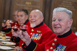© licensed to London News Pictures. London, UK 02/10/2012. Chelsea Pensioners launch The Soldiers' Charity Big Curry season with a special curry lunch at Royal Hospital Chelsea's Royal Hall in London on 02/10/12. (Names: (left to right) Hackett Ray, John Clavim, Wayne Campbell, David Donaghey) Photo credit: Tolga Akmen/LNP