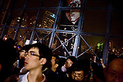 Liu Xiaobo has died today July 13 2017.<br /> <br /> The portrait of the detained chinese dissident Liu Xiaobo has been displayed during the vigil of Tiananmen crackdown in the Victory parc of Hong Kong, June 4th 2010. A recorded message from his wife Liu Xia was played during the vigil. Liu Xiaobo is one of the most famous dissident in China, he has been condemned to 11 years of jail at 2009 Christmas Day after the publication of the  Charter 08, asking for more democratic reforms in China.