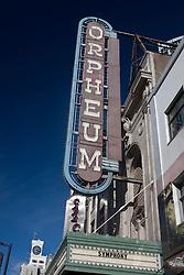 The Orpheum theatre marque sign, Granville Street, Vancouver, British Columbia, Canada