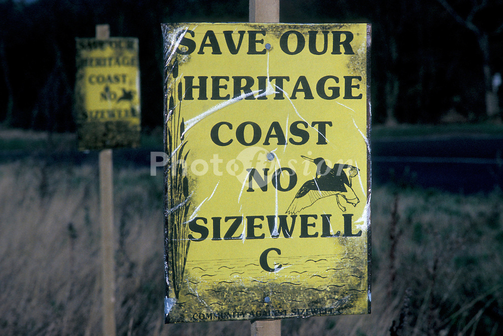 Protest against construction of Sizewell C nuclear power plant; Suffolk UK