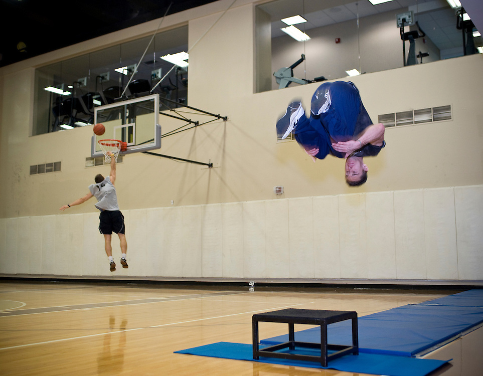 Washington, DC  - Personal trainer Sean Hanna practices parkour  on the basketball court at the Sports Club/LA Photo next to the Ritz-Carlton at 22nd Street NW. © Susana Raab,
