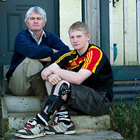 Rugby player Angus Broad from Aberfeldy in Perthshire who was injured playing the sport, pictured with his uncle Steve Brown.....16.10.10<br /> Picture by Graeme Hart.<br /> Copyright Perthshire Picture Agency<br /> Tel: 01738 623350  Mobile: 07990 594431