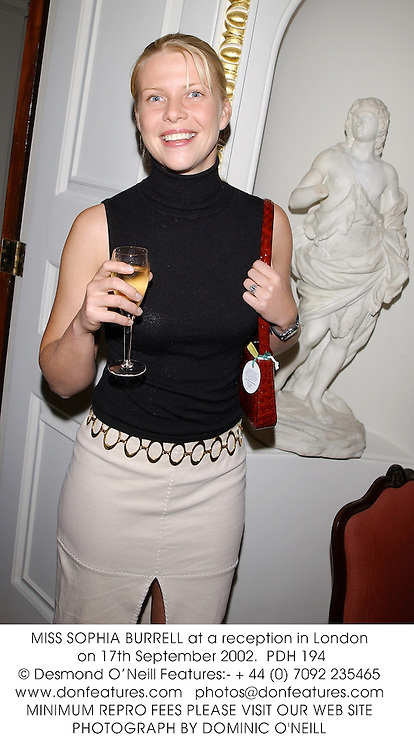 MISS SOPHIA BURRELL at a reception in London on 17th September 2002.<br />PDH 194
