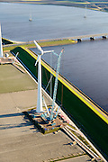 Nederland, Flevoland, Noordoostpolder, 28-02-2016; aanleg megawindmolen aan het Ketelmeer, ten zuiden van Urk, Ketelbrug in de achtergrond.<br /> Construction mega windmill on the Ketelmeer.<br /> <br /> luchtfoto (toeslag op standard tarieven);<br /> aerial photo (additional fee required);<br /> copyright foto/photo Siebe Swart