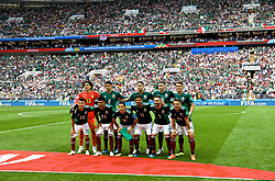 MOSCOW, RUSSIA - Sunday, June 17, 2018: Mexico players line-up for a team group photograph before the FIFA World Cup Russia 2018 Group F match between Germany and Mexico at the Luzhniki Stadium. Back row L-R: goalkeeper Guillermo Ochoa, Hugo Ayala, Carlos Salcedo, Hector Herrera, Hector Moreno. Front row L-R: Hirving Lozano, Jesus Gallardo, Andres Guardado, Carlos Vela , Miguel Layun, Javier Hernandez. (Pic by David Rawcliffe/Propaganda)