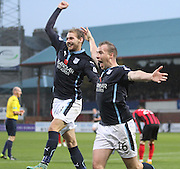 David Clarkson celebrates with Martin Boyle after equalling the best ever run of scoring at the start of a Dundee career - six goals in six games -  Dundee v St Johnstone, SPFL Premiership at Dens Park<br /> <br />  - &copy; David Young - www.davidyoungphoto.co.uk - email: davidyoungphoto@gmail.com