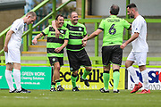 Forest Green Legends Paul Hunt scores a goal 1-0 and celebrates with Forest Green Legends Marc McGregorForest Green Legends Paul Hunt scores a goal 1-0 and celebrates during the Trevor Horsley Memorial Match held at the New Lawn, Forest Green, United Kingdom on 19 May 2019.