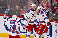 17 May 2014 Mats Zuccarello 36 of The New York Rangers Celebrates His Goal with teammates Ryan McDonagh 27 Benoit Pouliot 67 and Dominic Moore 28 in Game One of The Eastern Conference Final during The 2014 NHL Ice hockey men USA Stanley Cup Playoffs Against The Montreal Canadiens AT The Bell Centre in Montreal Quebec Canada NHL Ice hockey men USA May 17 Eastern Conference Final Rangers AT Canadiens Game 1 <br /> Norway only