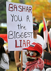 "35559258© Licensed to London News Pictures. 29/10/2011. London, UK.  A young boy carries a banner calling Syrian President Bashar Assad a liar. Amnesty International join Syrians in the UK for a ""N0 More Blood - No More Fear"" march and rally in Paddington Green, London, today 29th October 2011. Activists claim  Syrian security forces opened fire on Friday on protesters and hunted them down in house-to-house raids, killing about 40 people in the deadliest day in weeks in the country's 7-month-old uprising. Photo: Stephen Simpson/LNP"
