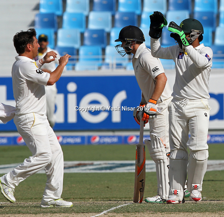 Pakistan vs New Zealand, 20 November 2014 <br /> Yasir shah and Sarfraz Ahmed celebrate after the dismissal of Tom Latham on the forth day of second test in Dubai