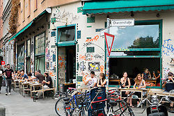 Grungy cafe on Oranienstrasse in bohemian district of Kreuzberg  in Berlin Germany