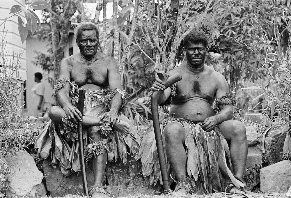 Locals attending traditional native ceremony at tribal gathering in Fiji, South Pacific
