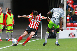 March 16, 2019 - Sunderland, Tyne and Wear, United Kingdom - Sunderland's Luke O'Nien contests for the ball with Walsall's Corey Blackett-Taylor during the Sky Bet League 1 match between Sunderland and Walsall at the Stadium Of Light, Sunderland on Saturday 16th March 2019. (Credit: Steven Hadlow | MI News) (Credit Image: © Mi News/NurPhoto via ZUMA Press)