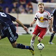 Dax McCarty, New York Red Bulls, in action during the New York Red Bulls V Sporting Kansas City, Major League Soccer regular season match at Red Bull Arena, Harrison, New Jersey. USA. 17th April 2013. Photo Tim Clayton