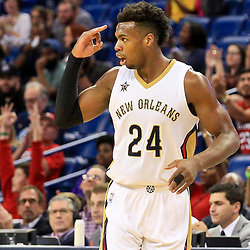 Oct 4, 2016; New Orleans, LA, USA;  New Orleans Pelicans guard Buddy Hield (24) against the Indiana Pacers during the first quarter of a game at the Smoothie King Center. Mandatory Credit: Derick E. Hingle-USA TODAY Sports