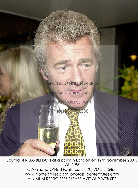 Journalist ROSS BENSON at a party in London on 12th November 2001.<br />